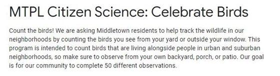 MTPL Science: Celebrate Birds