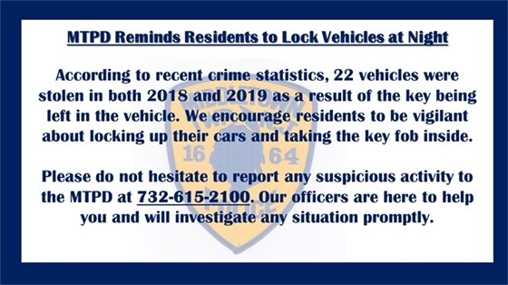 Reminder from MTPD: Don't Leave Keys in Car