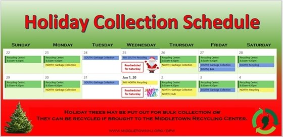DPW HOLIDAY SCHEDULE