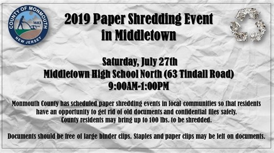 2019 Paper Shredding Events