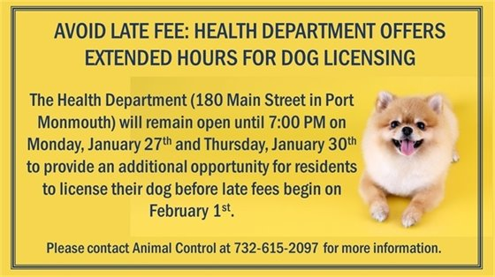 Health Department Offers Extended Hours on 1/27 and 1/30 for Dog Licensing