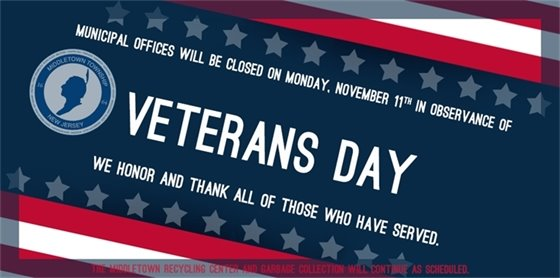 Municipal Offices closed for Veterans Day