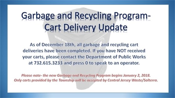 Garbage cart delivery update