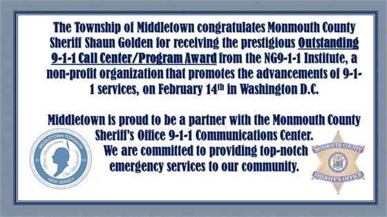 Monmouth County Sheriff Award