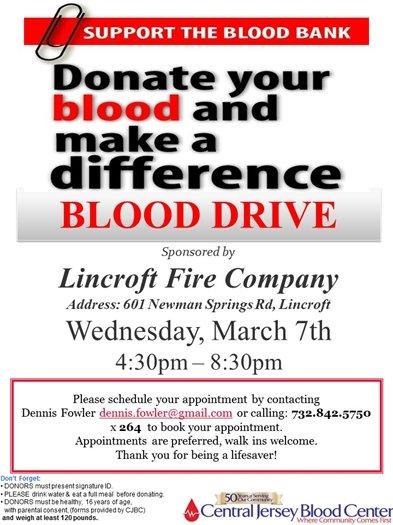 Lincroft Fire Company Blood Drive