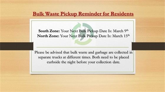 Bulk pickup reminder