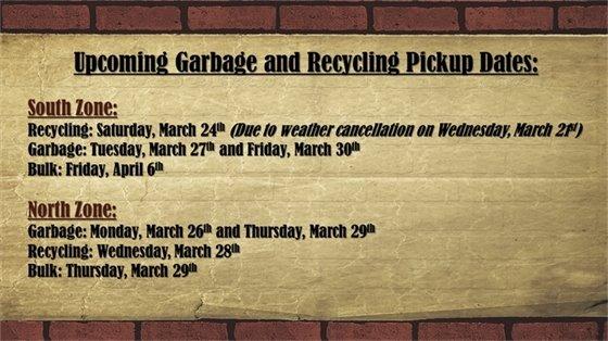 Upcoming Garbage & Recycling Pickup Dates