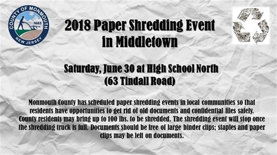 Monmouth County Shredding Dates