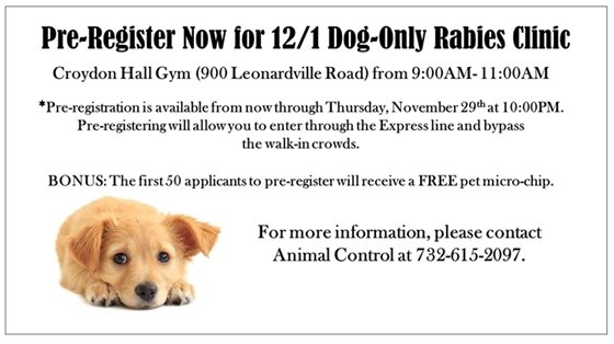 Dog only rabies clinic on December 1st