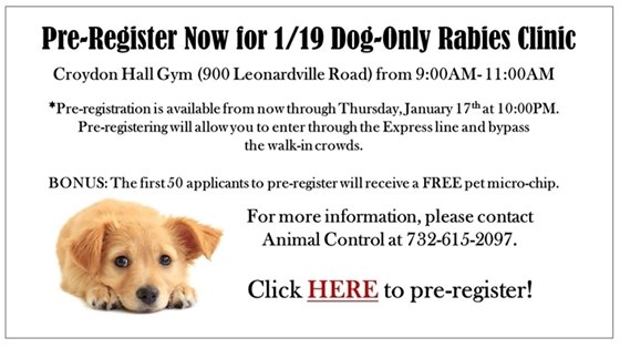 Dog Only Rabies Clinic 1-19