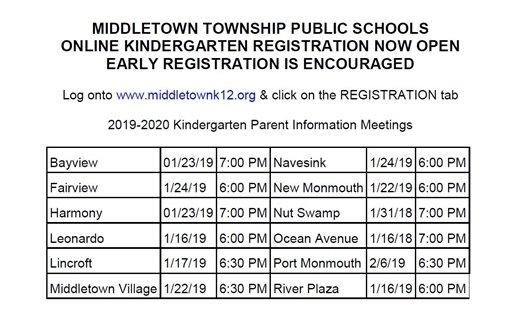 Kindergarten Early Registration