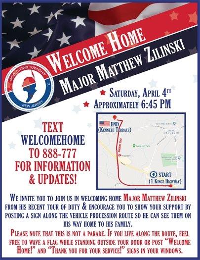 Welcome Home Major Matthew Zilinski