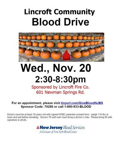 Lincroft Community Blood Drive
