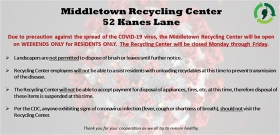 Middletown Recycling Center Closure