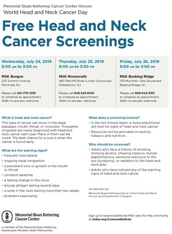 Memorial Sloan Kettering Cancer Center will be holding FREE Head and Neck Cancer Screenings in Middletown on July 25th