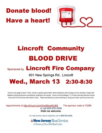 Lincroft Fire Company Blood Drive 3/13/19