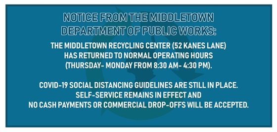 DPW Resume Regular Recycling Center Hours