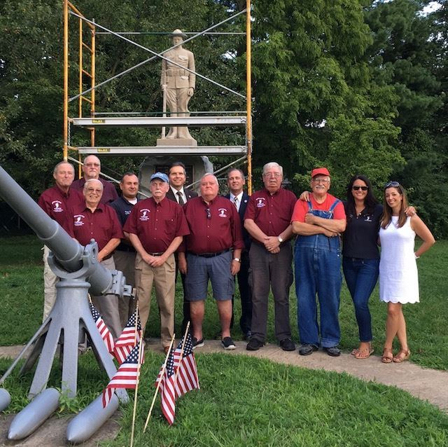 Township Officials, Veterans Affairs Committee and Sculptor with Doughboy