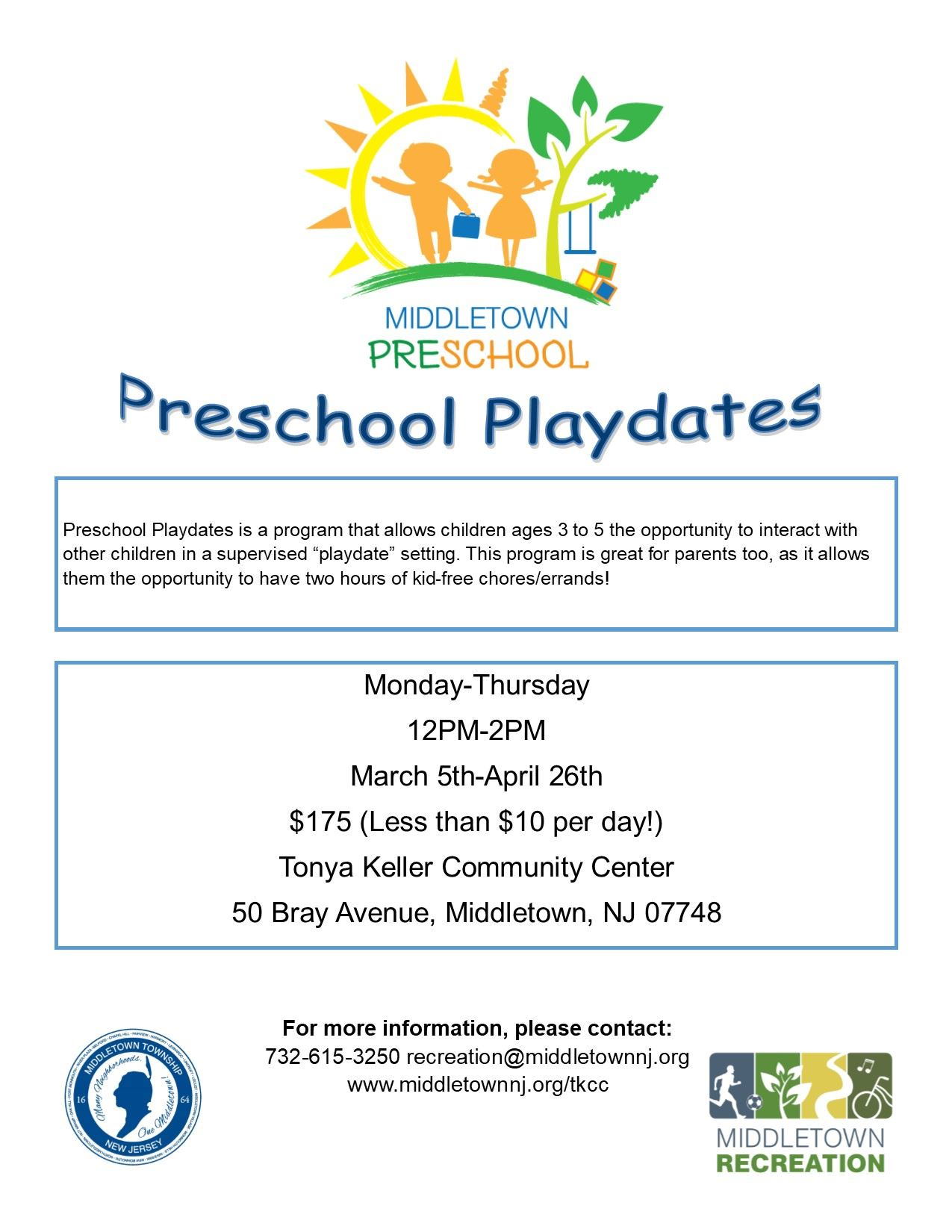 Preschool Playdates Flyer 2018
