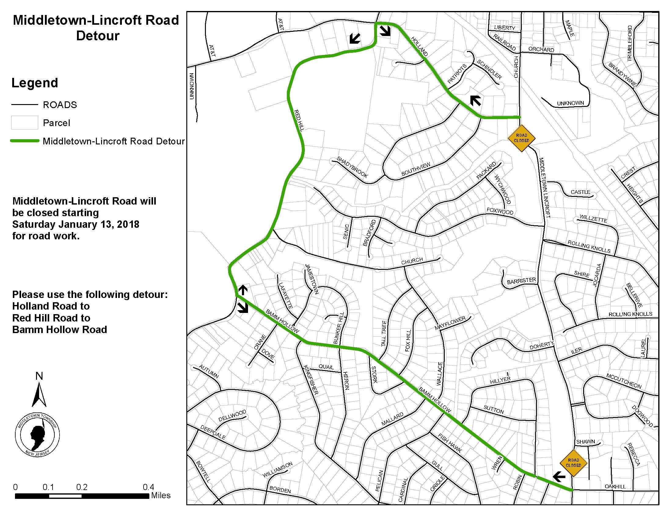 Middletown-Lincroft Road Detour 011418