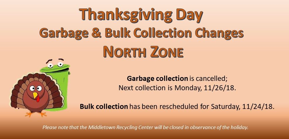2018 Thanksgiving Day collection change